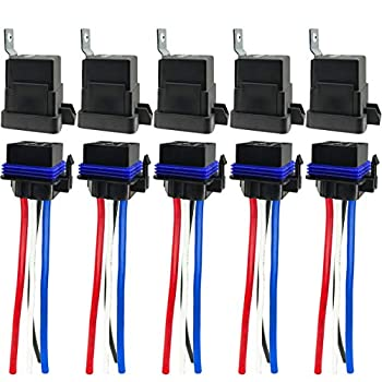 4-pin 80/60 AMP 12V DC Waterproof Relay with Harness - Heavy Duty 12 AWG Tinned Copper Wires 5 Pack SPST Bosch Style Automotive Relay for Marine Boat Fan Light