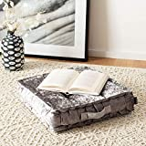 Safavieh Peony Glam 18-inch Grey Velvet Square Floor Pillow