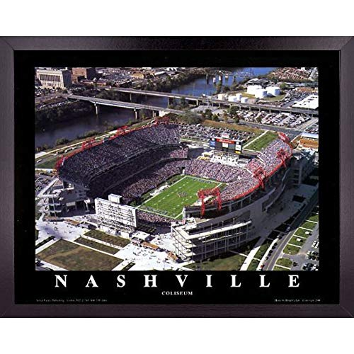 Tennessee Titans Football Stadium Skyline Poster Wall Art Decor Framed Print | 23 x 29 | NFL Game at Coliseum Field 1995 | Aerial Posters & Pictures | Fan Gifts for Guys & Girls College Bedroom Walls