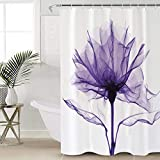 Beauty Decor Floral Shower Curtain Waterproof Polyester Fabric Shower Curtains Purple Romantic X Ray Flower Print Decorative Bathroom Curtain with Hooks 72' W x 72' L