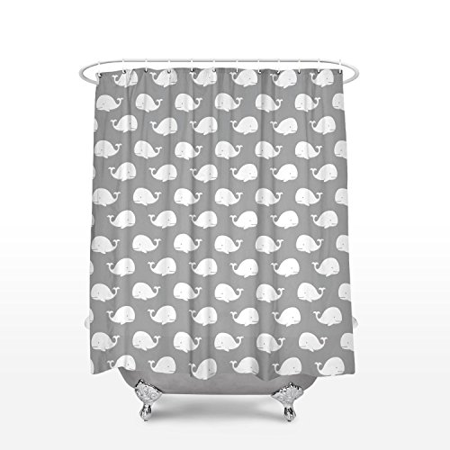 Prime Leader Fabric Shower Curtains Gray Cute Whale Pattern Waterproof Durable Shower Curtain 72x72 inches Bathroom Decor with Hooks