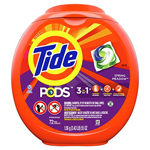 Tide PODS Laundry Detergent Soap PODS, High Efficiency (HE), Spring Meadow Scent, 72 Count