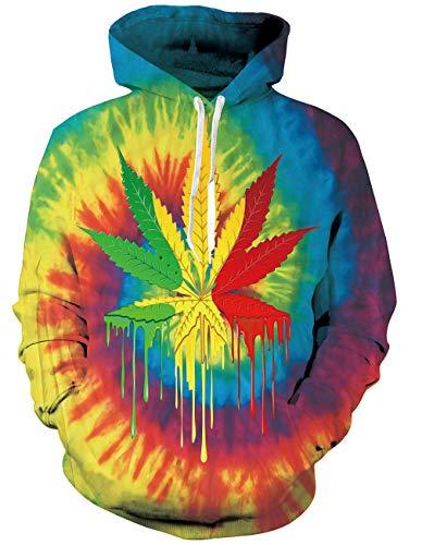 RAISEVERN Unisex Männer Frauen 3D Drucken Graffiti Pullover Hoodie Sweatshirt mit Kapuze sportlichen Pullover Herbst Winter Langarm Jacke Mantel Bunte Weed