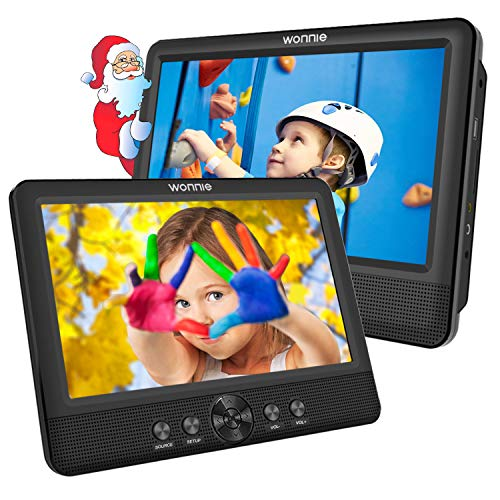 """WONNIE 2 Reproductor de DVD Portátil para Coche, con 10.5\"""" Doble Pantallas para Niños Viaje 5 Horas Batería Recargable Compatible con Tarjeta SD y USB con 2 Mando a Distancias"""