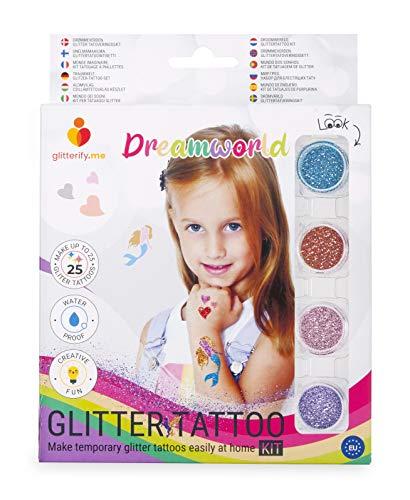 Traumwelt – Glitzer-Tattoo-Set für Mädchen, für Kinder – Hergestellt in der EU, kosmetische Qualität