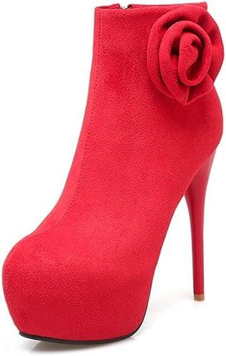 Zrf cómodo Antideslizante botas Cortas de otoño e Invierno zapatos de Novia de tacón Fino Sexy Resistente al Calor (Color   rojo, Tamaño   38)