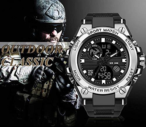 Reloj digital militar de oro negro, resistente al agua, para deportes al aire libre, cronómetro, reloj despertador electrónico LED táctico militar para una supervivencia difícil-Negro_Plata