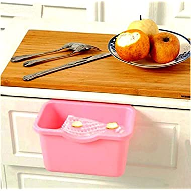VANORIG Creative Plastic Basket Wastebaskets Multifuctional Hanging Trash Can Waste Bins Deskside Recycling Garbage Bowls Can Containers,Pack of 3 (Pink)