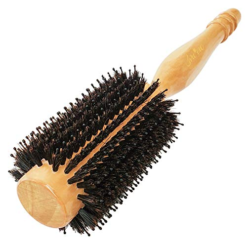 Wood Round hairbrush with High-Density Boar Bristle for Blow Drying, Straightening, Styling Fine or Thin Hair at Shoulder Length, Medium 1.2