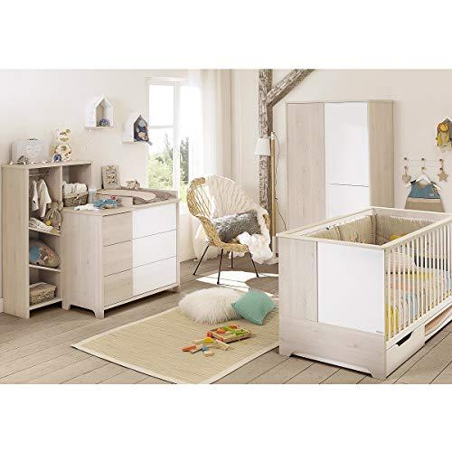Chambre complète lit évolutif 70x140 - commode à langer - armoire 3 portes Sacha - Blanc bois