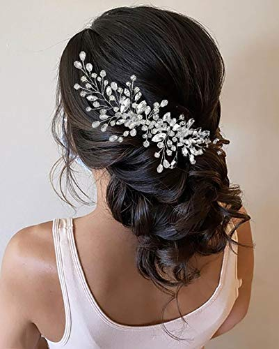 Unicra Crystal Bride Wedding Hair Comb Silver Rhinestone Headpiece Bridal Hair Combs Accessories for Women and Girls