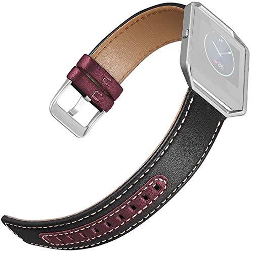 LWHAMA Lwwhama Reloj Correas para Mujeres de Cuero Dos Colores Tejido Reloj de Reloj de Reloj de Reloj con Marco para Fitbit Blaze SmartWatch Soporte Accesorios de Soporte. (Band Color : A)