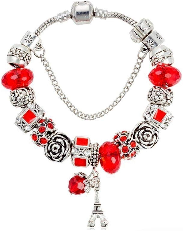Zicue Stylish Charming Bracelet Exquisite Ornaments Women's Bracelet,Floral Heart Alloy Set with gem Crystal Bead Plating ( Size   20cm )