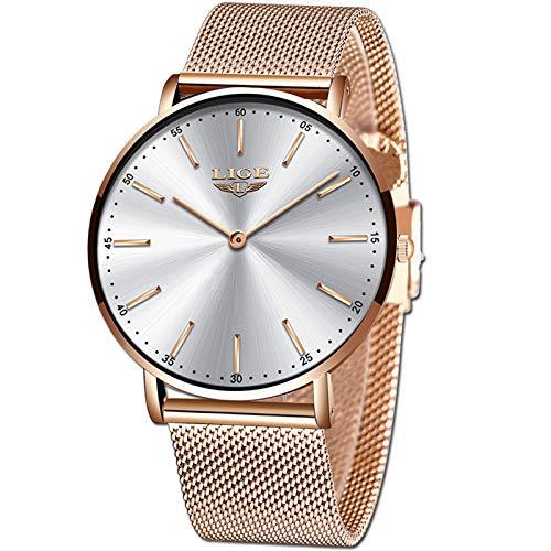 LIGE Ultra Hombre Relojes Unisexo Impermeable Acero Inoxidable Malla Relojes Hombres Moda Simple Analógico Cuarzo Reloj