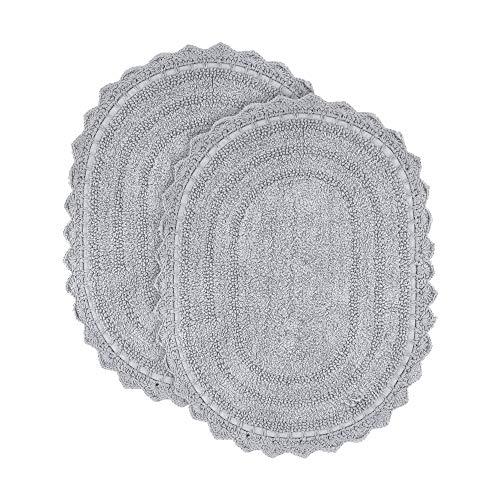 Tapis de Bain Gris - Lot de 2 Tapis de Bain Ovale en Coton Doux 61x43 cm pour Salle de Bain, Douche, Baignoire, lavabo, Toilette