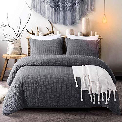 Vivilineneu Bettwäsche-Set Seersucker 3-teilig Bettwäsche - Bettbezug 200x200cm + 2 Kissenbezug 50x75cm - mit Reißverschluss (Dunkelgrau, 200 x 200cm)