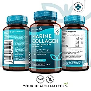Marine Collagen 1000mg - 60 Capsules of Superior Type 1 Hydrolysed Collagen - Enhanced with Hyaluronic Acid, Vitamin C, Vitamin E, Vitamin B2, Zinc, Copper and Iodine - Made in The UK by Nutravita