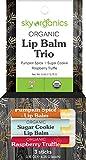 Organic Holiday Lip Balm Trio by Sky Organics (3 Sticks) Holiday Fall Flavors Moisturizing Lip Balm Gift Set Pumpkin Spice, Sugar Cookie, Raspberry Truffle Limited Edition Stocking Stuffer Made In USA