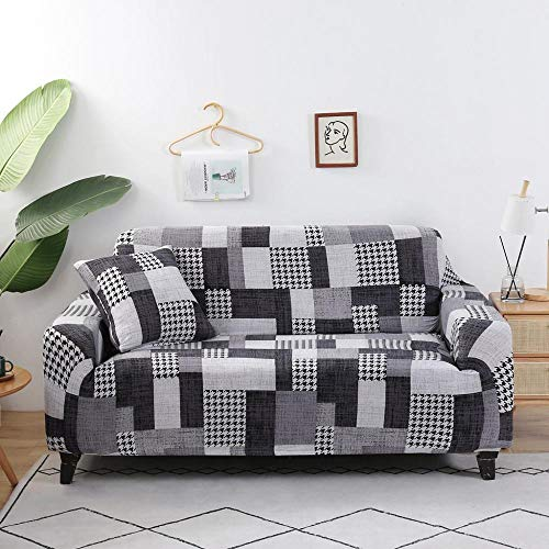 ASCV Juego de Fundas de sofá geométricas Fundas de sofá elásticas elásticas para Sala de Estar Funda de sofá de Licra A2 3 plazas