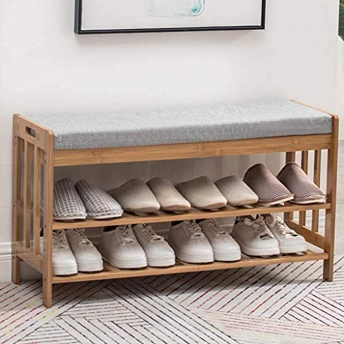 BBZZ Zapatero de madera, zapatero de 2 plantas con estante para zapatos con...