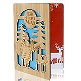 upain Tarjeta Navideña, Tarjeta de Felicitación de Madera Bambú, Tarjeta Madera Ahuecada Diseñado, para Decorar Árbol de Navidad y Dar Felicitaciones Navideñas (Patrón: Santa y Elk)