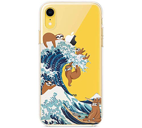 LALAPOPO Cute Case for iPhone XR 6.1 Inch, Sloth Great Wave Pattern Transparent Clear Design Soft TPU Slim Flexible Silicone Cover Phone Case for Girls Women