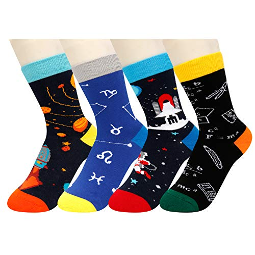 HAPPYPOP Kids Socks Boys Novelty Funny Crazy Space Crew Socks, 4 Pack Gift Set