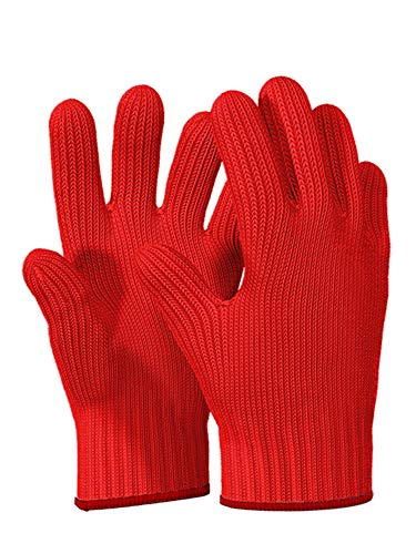 Guanti da forno resistenti al calore con dita – 1 paio di guanti da forno rossi da cucina – guanti in cotone – doppi guanti da cucina – rosso Natale