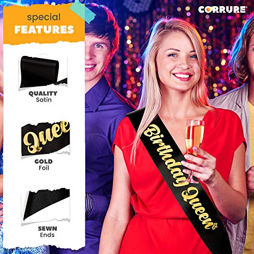 CORRURE 'Birthday Queen' Sash with Gold Foil - Soft Satin Black Sash for Women - Happy Birthday Sash for Girls, Sweet 16, 18th 21st 25th 30th 40th 50th or Any Other Bday Party