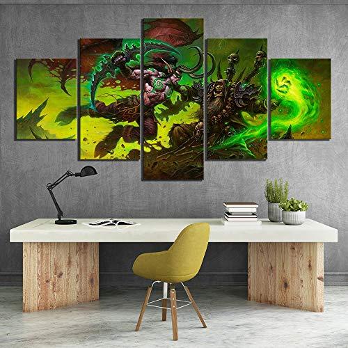 DYCUN Impresión Arte de la Pared de la Lona 5 Piezas de World of Warcraft Legion de Videojuegos Cartel Illidan y Guldan Warcraft Cartel de Las Pinturas del Arte de la decoración
