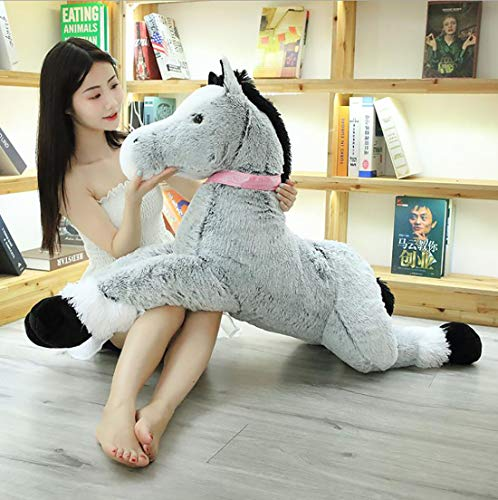 Bias&Belief Grey Horse Large Brown Horse Toy Home Cute Giant Animal Horse Doll Gift,Gray,1.2M
