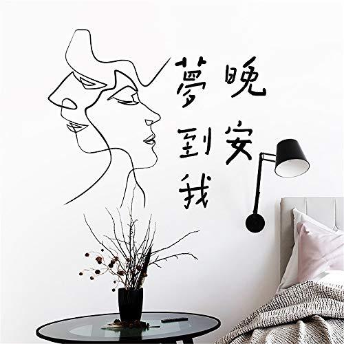 Wandaufkleber Einfache Linien Paar Liebe Romantik'Dreaming Of Me Good Night' Schlafzimmer Schlafsaal...