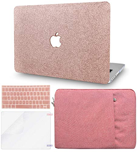KECC Laptop Case for New MacBook Air 13' Retina (2020/2019/2018, Touch ID) w/Keyboard Cover + Sleeve + Screen Protector (4 in 1 Bundle) Plastic Hard Shell Case A1932 (Rose Gold Sparkling)