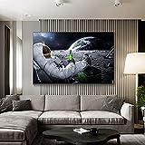 Beers Outer Space Earth Astronaut Moon Poster Pintura de Lienzo Moderna en la Pared Imagen artística para Sala de Estar Decoración del hogar 70x100cm / 27.5'x39.4 Sin Marco