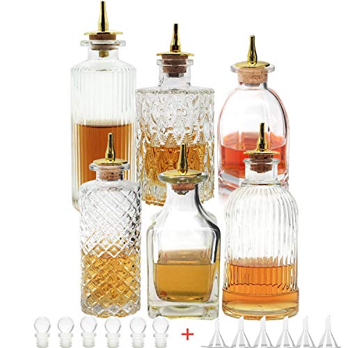 Bitters Bottle Set of 6- Glass Bitter Bottle, with Zinc alloy Dash Top, Great Bottle For Your Bitters (6)