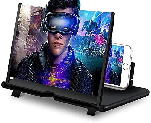 DCUKPST Lente d'Ingrandimento dello Schermo,3D Lente d'Ingrandimento Cellulare con Schermo Pieghevole HD per la Visualizzazione Supporta Tutti Gli Smartphone (14'')