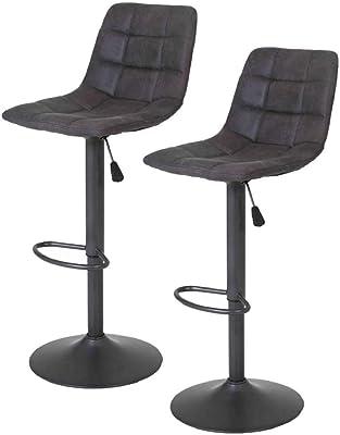 schwarz 55 x 45,5 x 44,5 cm Kunstleder SONGMICS 2 x Barhocker mit R/ücklehne und robustem Standfu/ß /Ø 41 cm