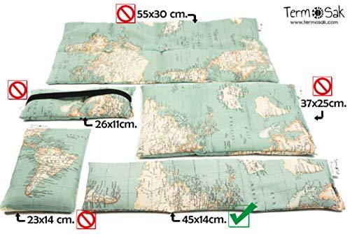 TERMOSAK Saco térmico de semillas 45x14 cm + funda, con separaciones, cojín térmico calor/frío de semillas alta duración y lavanda con funda lavable de misma tela (45x14 + funda, Verde)