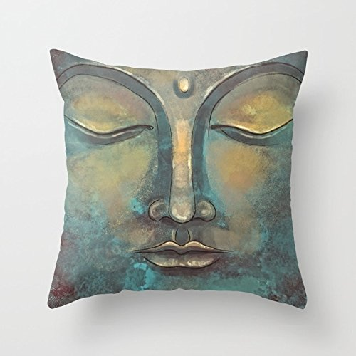 FJPT Throw Pillow Cover Rusty Golden Copper Buddha Face Watercolor Painting Creative Decorations for Sofa Bed Cotton Square Stand Size Pillowcase (18, 22x22 Inch)