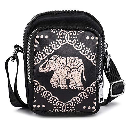 Kleine Umhängetasche Handytasche zum Umhängen Mini Handtasche Elefanten Tasche Crossbody Bag für Damen Mädchen, zum Telefon 5 Zoll