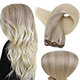 Full Shine Straight Weave Bundles 20 Inch Balayage Ash Blonde Remy Human Hair Weave Extensions Color 18 Fading to 22 and 60 Blonde Weft Hair 100 Gram Sew In Extensions For Braiding