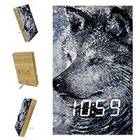 ベッドルーム用デジタル目覚まし時計キッチンオフィス3アラーム設定ラジオウッドデスククロック-アートウィンターロンリーウルフ