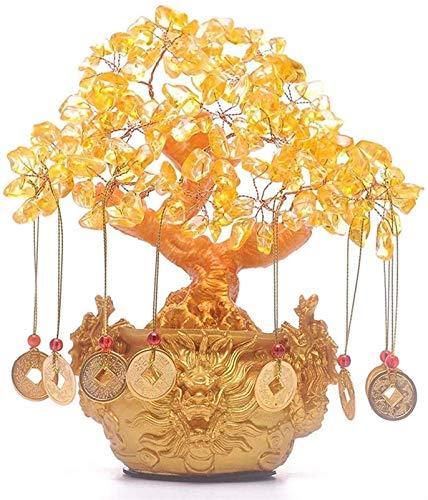 Office Home Table Feng Shui Decoração Chinês Feng Shui Estátua Citrino Quartzo Cristal Árvore Do Dinheiro Decoração Estilo Bonsai Chinês Dragon Pots para Sorte Feng Shui E Riqueza Feng Shui Decor fo