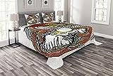 ABAKUHAUS Drachen Tagesdecke Set, Chinesische Sternzeichen, Set mit Kissenbezügen luftdurchlässig, für Doppelbetten 264 x 220 cm, Multicolor