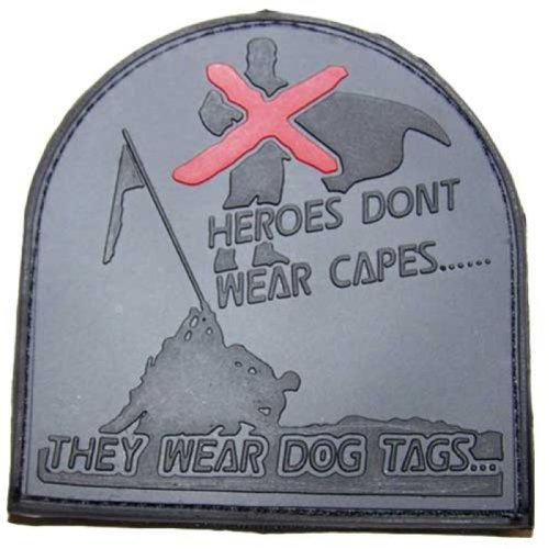'3D Rubber Patch Heroes Don' t Wear Capes Bandera Gris