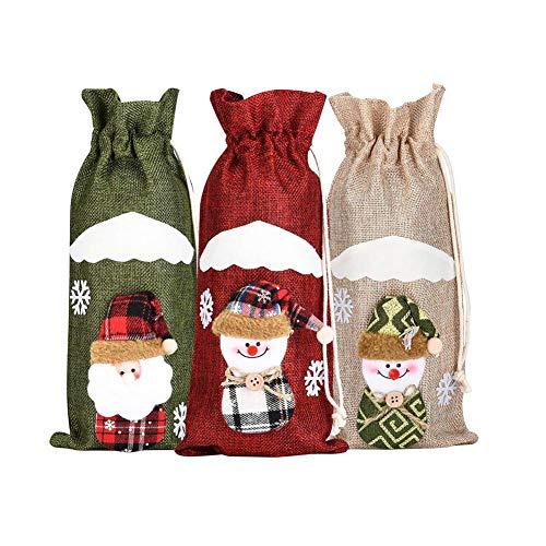 Cubiertas de botella de vino de Navidad Santa Claus muñeco de nieve lindo regalo bolsa para la decoración de la mesa Año Nuevo 3PCS Decoración