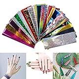 Yusell24pcs Nail Stickers Autocollants Transfert Pochoir Ongles Nail Wraps Foil Sticker Décalque Design Multicolore Décoration DIY pour Manucure Soirée Fête Party 10Modèles