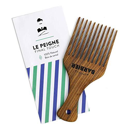 Monsieur Barbier Final Touch Peine Styling 100% natural de madera de sándalo para barba y cabello denso.