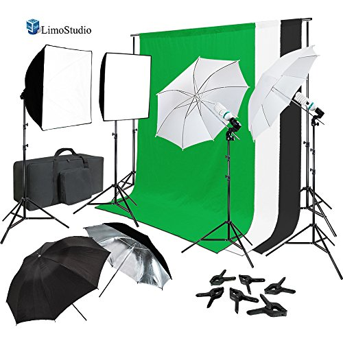 LimoStudio Continuous Lighting Photo Video Studio Kit with Photo Background Muslin and Umbrella Reflector, Softbox, Photo Studio Bundle, AGG2061_V2