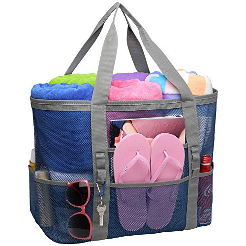 Strandtasche, F-Farbe, Netz-Strandtasche, Übergröße, Strandtasche, 9 Taschen, Strandspielzeug Tasche